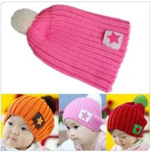 韩版可爱宝宝毛线毛球帽