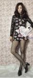 日韩复古风膝盖花纹竖条镂空性感激情连裤袜(精装)