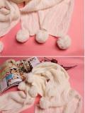 韩版秋冬毛球长款保暖围巾