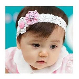 两朵花布纽扣宝宝蕾丝发箍
