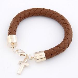 十字架皮质手链