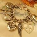 爱心十字架多挂件手链