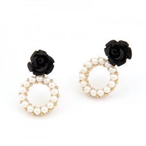 玫瑰花小珍珠耳钉